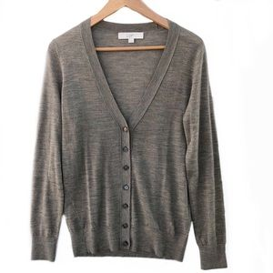 Loft Taupe Button Down Cardigan NWOT